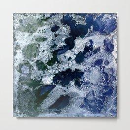 Oceans - Encaustic painting (blue, green, silver) Metal Print
