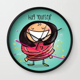 Hug Yourself #happywoman Wall Clock