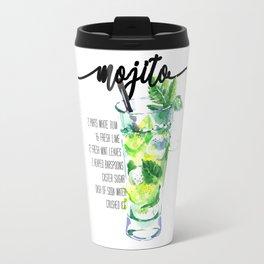 Mojito - Cocktail Watercolour - Typography Art - Calligraphy Recipe Travel Mug