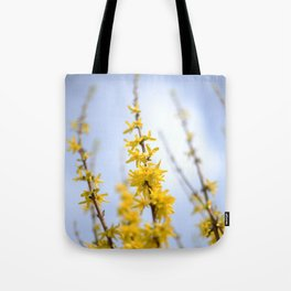 Yellow flowers reaching Tote Bag