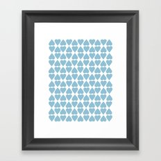 Diamond Hearts Repeat Blue Framed Art Print