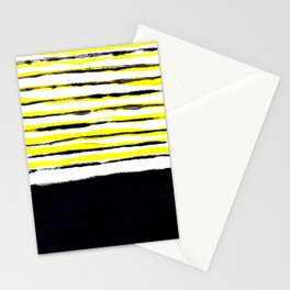 Striped black yellow Stationery Cards