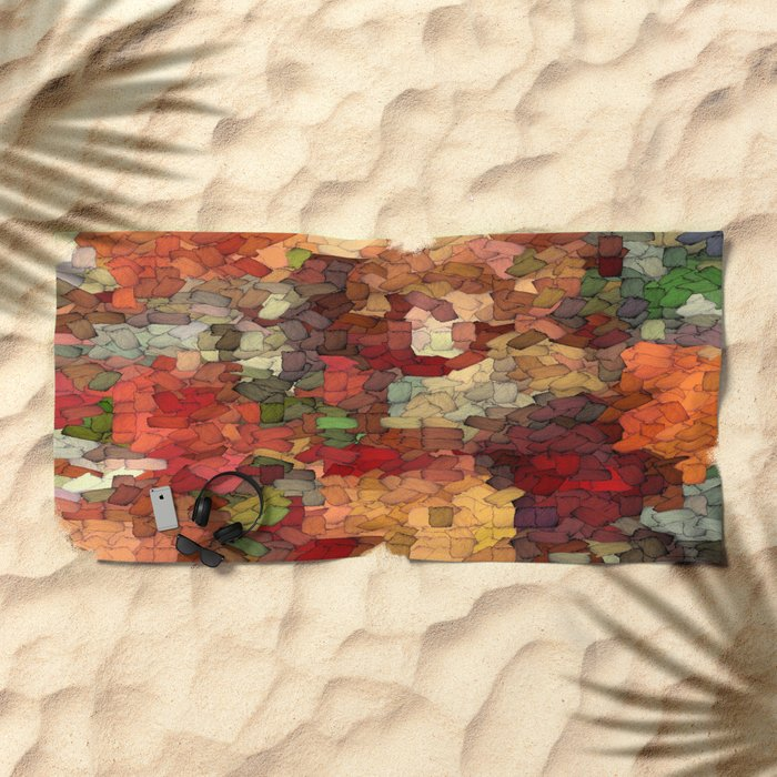Autumn Inspired Torn Scraps 2492 Beach Towel