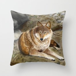 Wolf by the Riverbed Throw Pillow