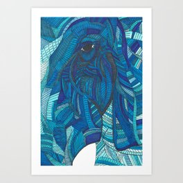 'He remembers' Ombre Blue Close-up Elephant Face Illustration with line work Art Print