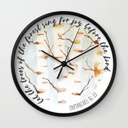 Chronicles 16:33 Watercolor Trees Wall Clock