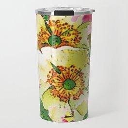 CONTEMPORARY PINK & CREAMY WHITE SPRING FLOWERS Travel Mug