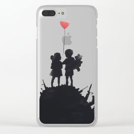 Banksy Two Children With Love Balloon At War Destruction Garbage, Streetart Street Art, Grafitti, Ar Clear iPhone Case