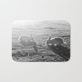 Bunny // Black and White Cute Nursery Photograph Adorable Baby Bunnies in the Field Bath Mat