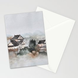 Japanese ancient city in fogging day Stationery Cards