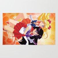 sailor venus Area & Throw Rugs featuring Sailor Mars and Sailor Venus by Neo Crystal Tokyo