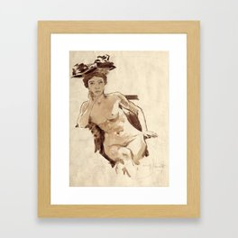 Female Semi-Nude with Hat Framed Art Print