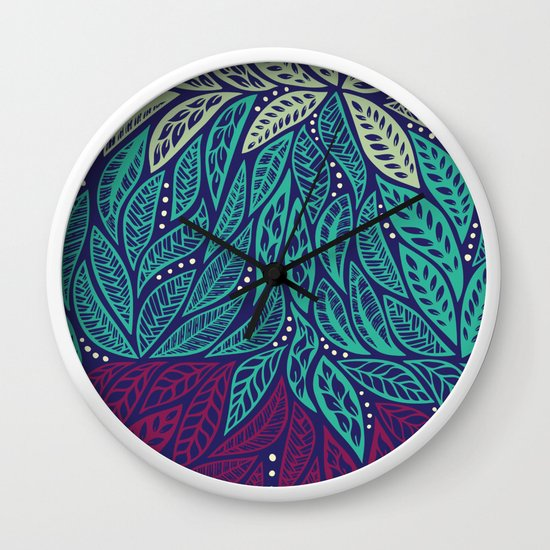 oval frame tattoo design mirror polynesian floral blue purple tattoo design wall clock by ayeletfleming society6