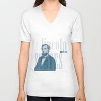 lincoln V-neck T-shirts featuring Lincoln by Thomas Official