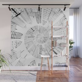 black and white city spiral digital painting Wall Mural