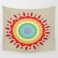 chakra Wall Tapestries featuring Chakra Mandala by Little Ram Design & Ink