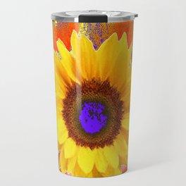 Yellow Sunflowers & Lilac Purple Patterns Travel Mug