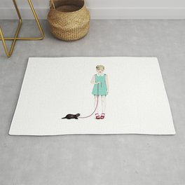 The girl with the ferret Rug