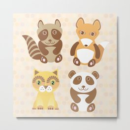 Funny cute raccoon, panda, fox, cat on dot background. Metal Print
