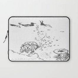 Two Tailed Duck and Jellyfish White Laptop Sleeve