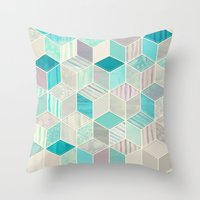 bedding Throw Pillows featuring Vacation Patchwork by micklyn