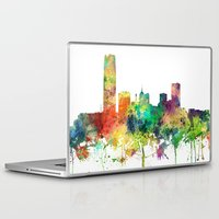 oklahoma Laptop & iPad Skins featuring Oklahoma City, Oklahoma skyline SP by Marlene Watson