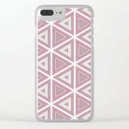 Bright White and Pink Triangle Pattern Clear iPhone Case