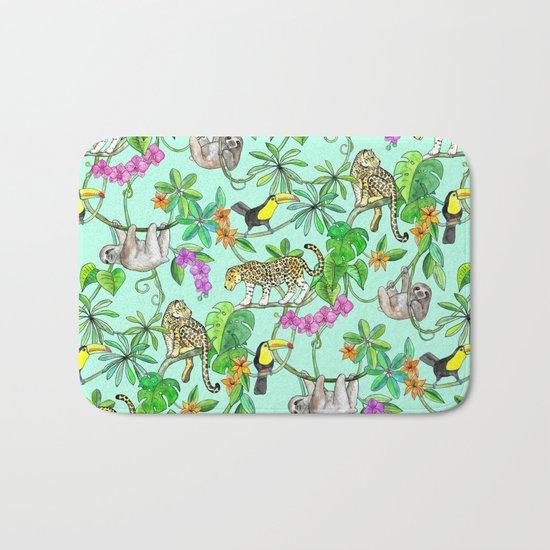 Rainforest Friends - watercolor animals on mint green Bath Mat