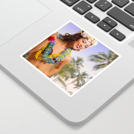 """Aloha"" - The Playful Pinup - Coconut Shell Bikini Pinup Girl by Maxwell H. Johnson Sticker"