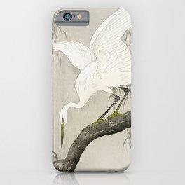 Heron sitting on a tree  - Vintage Japanese Woodblock Print Art iPhone Case