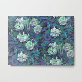 White roses, blue leaves Metal Print