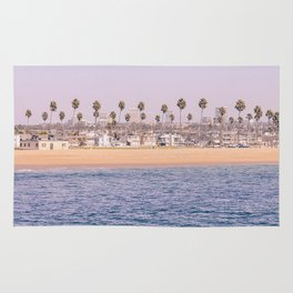 Vintage Newport Beach Print {2 of 4} | Photography Ocean Palm Trees Magenta Tropical Summer Sky Rug