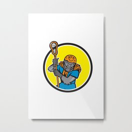 Gorilla Lacrosse Player Circle Cartoon Metal Print