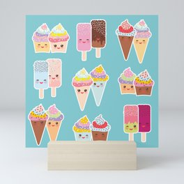 Kawaii cupcakes, ice cream in waffle cones, ice lolly Mini Art Print