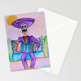 Mexican Jugador del Acordeon Dia de Los Muertos Painting Stationery Cards