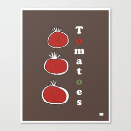 Tomatoes on Retro Mid Century Brown Canvas Print