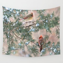 Winter Pair: Cardinals Wall Tapestry