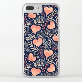 Floral Hearts Day - Blue Clear iPhone Case