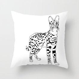 African Serval Line art  Throw Pillow
