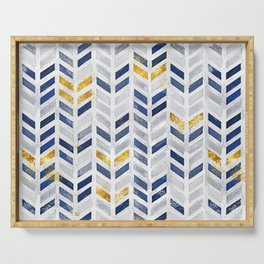 Herringbone chevron pattern.Indigo faux gold acrylic canvas Serving Tray