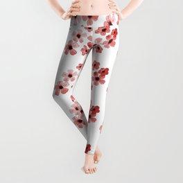Red Flowers Pattern Leggings