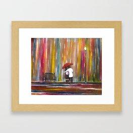 Love in the Rain romantic painting by Manjiri Kanvinde Framed Art Print