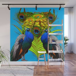 BLUE-GREEN PEACOCKS & LIME FEATHERS ART Wall Mural