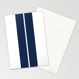 Blue on White Racing Stripes Stationery Cards