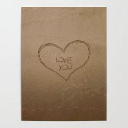 'Love you' text written on a sandy beach Poster