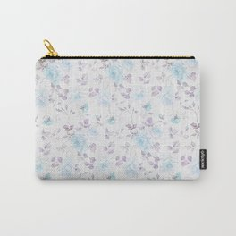 Baby blue purple vintage bohemian roses flowers Carry-All Pouch