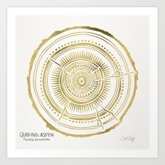 Quaking Aspen – Gold Tree Rings Art Print