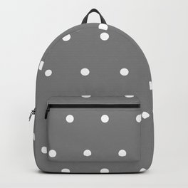 Grey With White Polka Dots Pattern Backpack