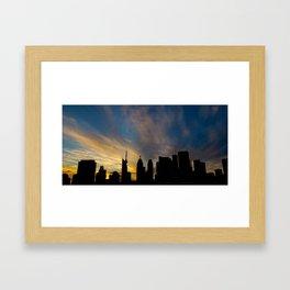 Skyline Silhouette Moody Wispy Clouds Framed Art Print