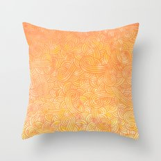 Ombre yellow and orange swirls doodles Throw Pillow
